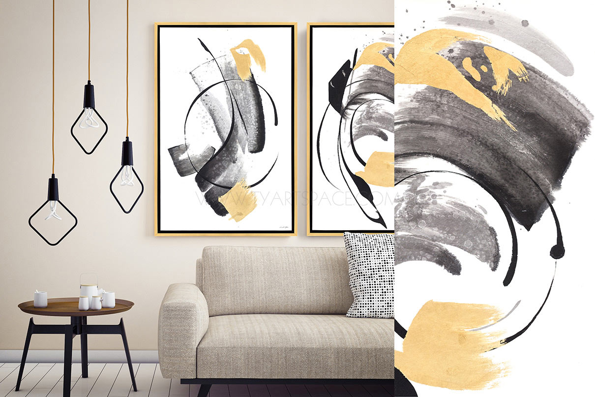 Abstract Framed Artwork | Oil Painting - Ink Mark | TY Art Space