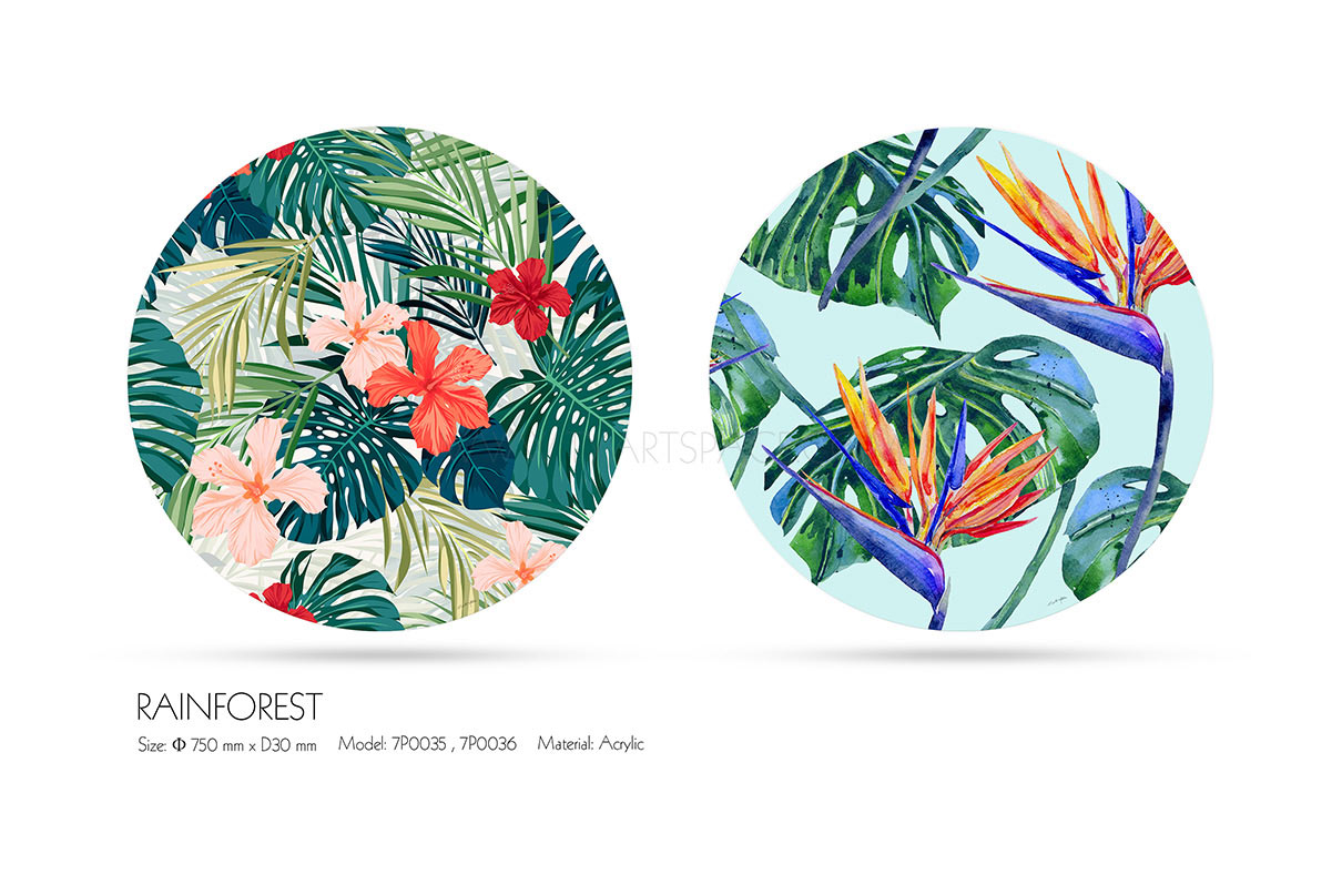 Round Wall Painting Acrylic Printing Rainforest Ty Art Space